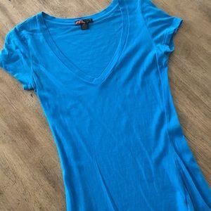 Women's Blue V-Neck Tee